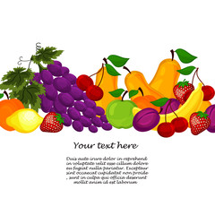 fruit design borders isolated on white.