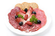 assorted deli meats on a plate, isolated