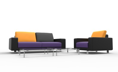 Black Sofa And Armchair With Yellow Pillows