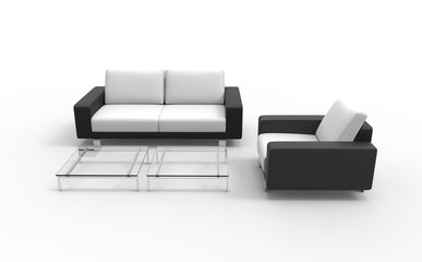 Black And White Sofa And Armchair