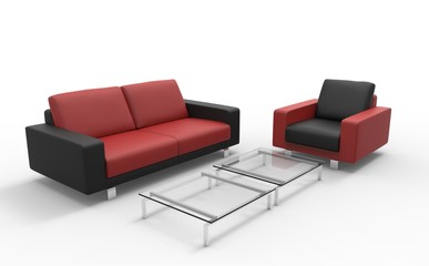 Red And Black Sofa And Ottoman