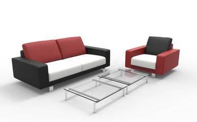 Red Black And White Sofa With Coffee Table