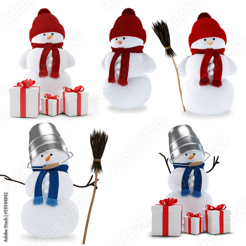 Set of snowmen
