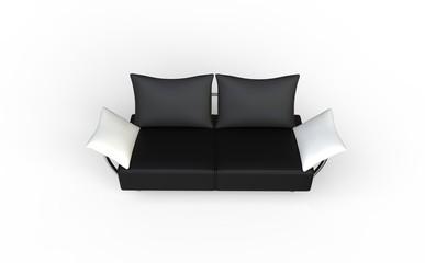 Black Two Seat Sofa With White Pillows