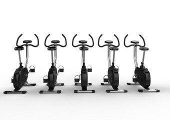 Row Of Stationary Bikes Back View