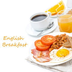 English breakfast with fried eggs, bacon, beans
