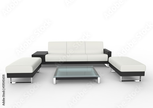 Modern White Sofa With Coffee Table