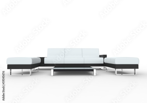 White Modern Sofa With Coffee Table And Two Ottomans