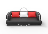 Black Sofa With Red And White Pillows