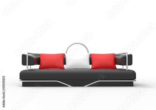 Black Sofa With Red And White Pillows Front View