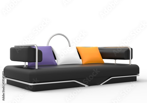 Black Futuristic Sofa With Colorful Pillows