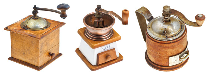 set of retro manual coffee mills