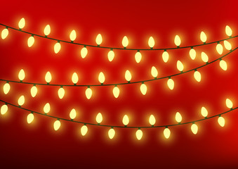 Christmas lights on red background
