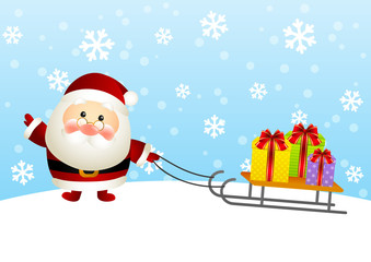 Cute Santa with gift boxes