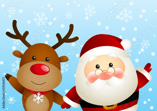 Funny Santa and cute deer
