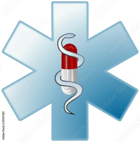 Medical symbol with colored capsule and snake