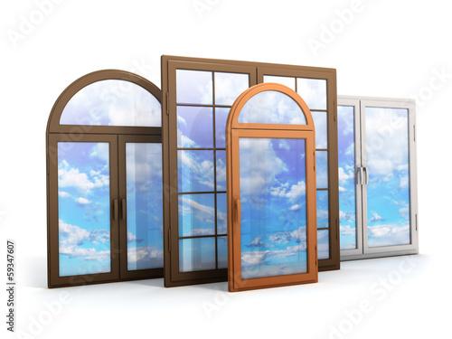 Zdjęcia na płótnie, fototapety, obrazy : window with reflections of the sky