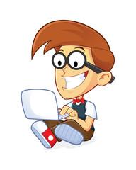 Nerd Geek with his Laptop