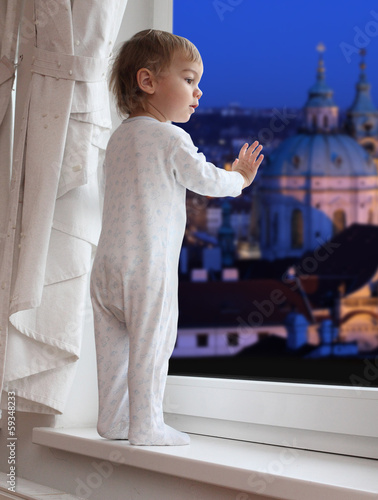 Little boy waiting to Santa in The Prague. Czech Republic.