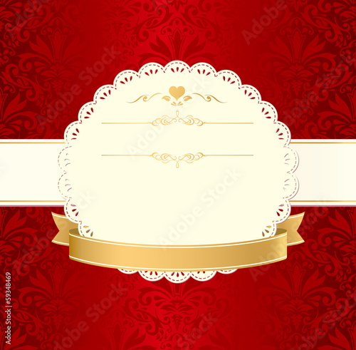 invitation vintage label vector frame