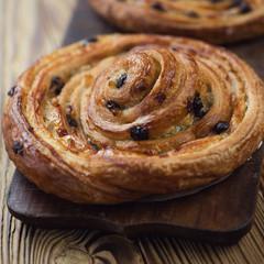 Close-up of a french sweet roll bun, studio shot