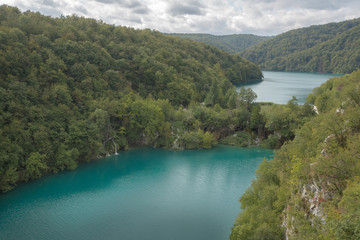 Two big lakes in Plitvice Lake National Park