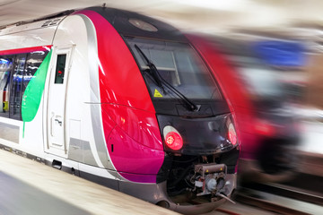 Modern Fast Passenger Train. Motion effect