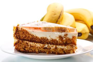 Honey cake with bananas