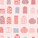 Seamless pattern with pots
