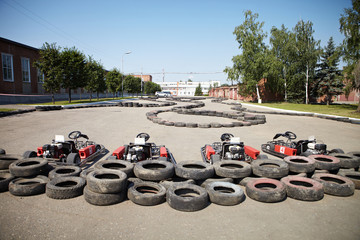 Kart Racing. Cars at pit stop.