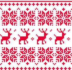 Nordic seamless knitted christmas pattern vector ( red )