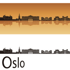 Oslo skyline in orange background