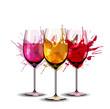Three wine glasses with splashes - 59351643