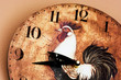 Wall clock with a rooster theme