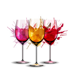 Three wine glasses with splashes