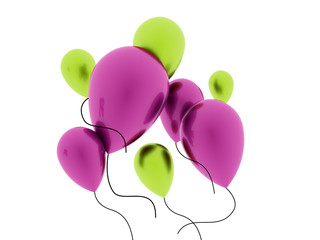 Many balloons rendered isolated
