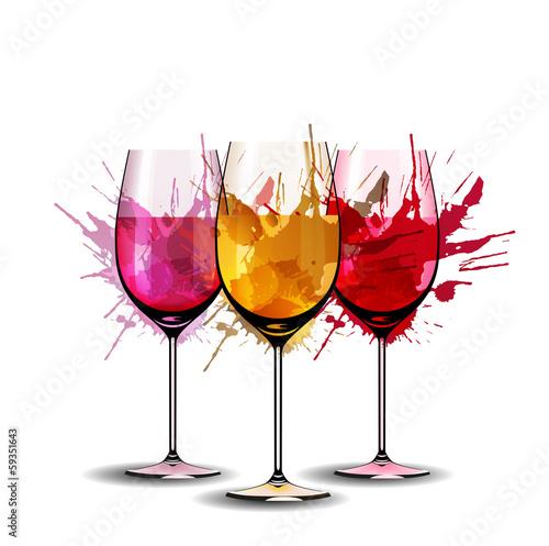 Three wine glasses with splashes