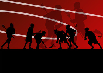 Lacrosse players active sports silhouettes background illustrati
