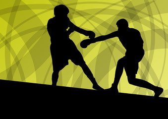 Boxing active young men box sport silhouettes vector abstract ba