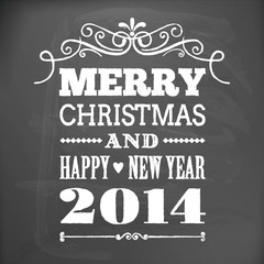 merry christmas and happy new year 2014 on blackboard card