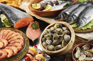 fishes,clams and prawns