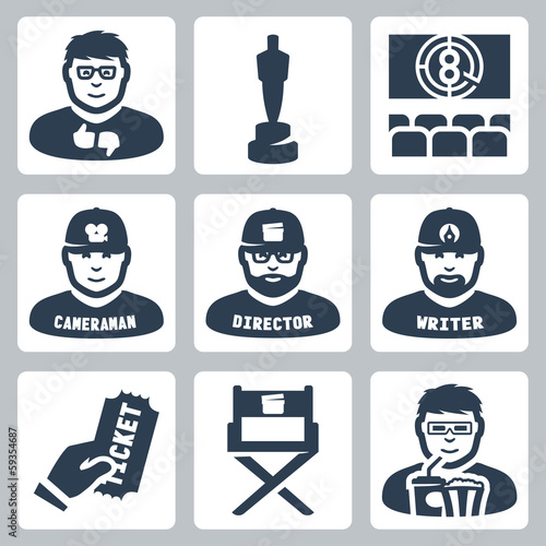 Vector cinema and filmmaking icons set
