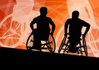 Active disabled young men on a wheelchair detailed sport concept