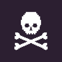 vector pixel illustration - white skull on dark background