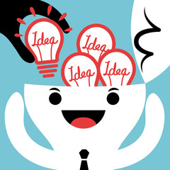Stealing or Input New Idea bulb concept illustration
