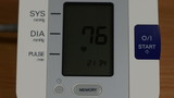 digital blood pressure measurement equipment screen with numbers