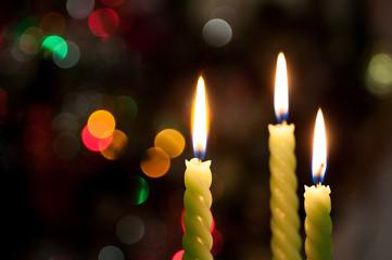 Three candle on bokeh