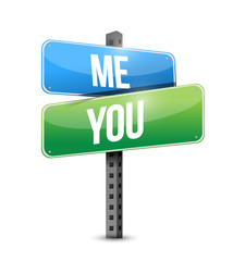 me, you road sign illustration design