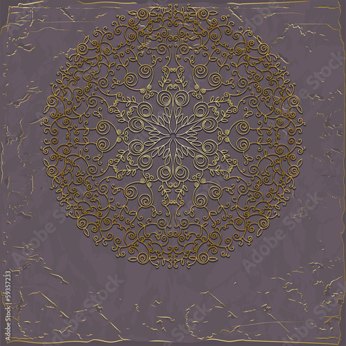 Round lace pattern on gray vintage background
