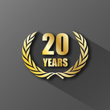 20 YEAR ANNIVERSARY Icon (twenty years wreath prize birthday)
